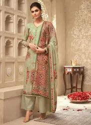 Awesome Satin Silk Lovely Green Color Party Wear Salwar Kameez