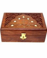 Brown Handmade Wooden Jewellery Box For Home