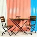 Industrial Wooden Two Seater Cafe Table And Chair Set