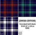 Swiss Cotton Yarn Dyed Twill Check Shirting Fabric