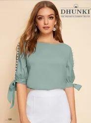 3/4Th Sleeves Georgette Women Designer Tops
