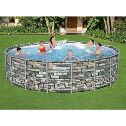 Bestway 20 Ft.power Steel Round Above Ground Pool With Stone Effect & Accessories