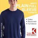 Premium Cotton Men Plain Blank Full Sleeve T Shirts