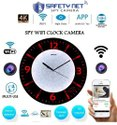 SAFETYNET Spy 4K WiFi Digital Wall Clock HD Audio Video Recording Watch Live Security Camera