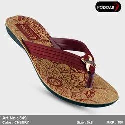 Multicolor Women Poddar Ladies Designer Slipper, Size: 4-8
