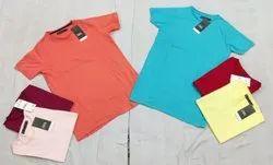 Round Half Sleeve Multi Brand Mens Cotton T Shirt, Size: M to Xl