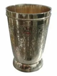 7inch Brass Water Glass, For Pooja, Shape: Round