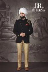 Wedding Plain Dulhe Raja Black Jodhpuri Suit, Size: Small