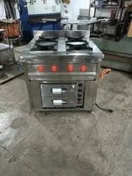Steel Four Burner With Pizza Oven, For Restaurant