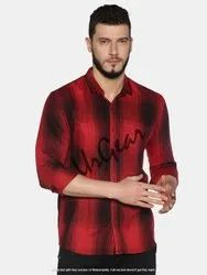 AKR Industries Casual Wear Ur Gear Mens Slim Fit Cotton Red Checked Shirt