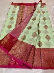 Wedding Wear weaving Kota Check Saree, 6.3 m (with blouse piece)
