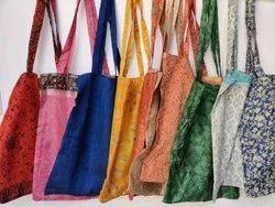 Multicolor Printed Silk Tote Bag