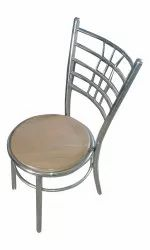 Silver and Brown SS Wooden Chair, For Restaurant