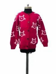 Winter Button Ladies Pink Woolen Sweater, Size: Large