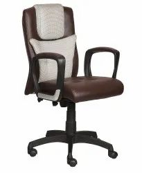 High Back Leatherette Office Chair Brown With Plastics Handle (vj-2033)