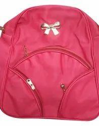 Pu Plain Girls School Backpack Bag