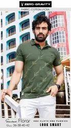 Half Sleeves Green Zero Gravity Men Casual Wear Cotton Lycra T-Shirt, Size: 36