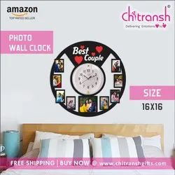 Multicolor Wooden MDF Personalized Photo Wall Clock, Size: 16x16 Inches