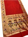 6.3 M (with Blouse Piece) Party Wear Red Printed Slik Paithani Saree
