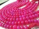 Natural Hot Pink Chalcedony Beads Rondelle Plain Smooth 9-10mm Size Beads