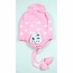 Light Pink Printed Kids Woolen Cap