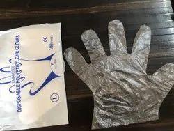 Polyamide White Poly Gloves, Size: Medium