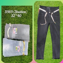 Bottom 2 Button Ladies Slim Fit Black Denim Jeans