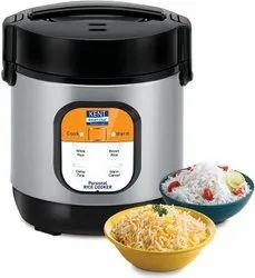 Stainless Steel Kent Personal Rice Cooker 0.9-Litres 180-Watt (Black and Silver)