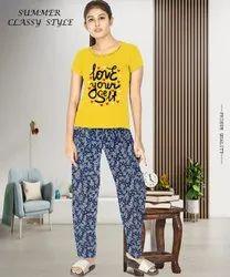Cotton HOME WEAR Women Printed T-Shirt Pajama Set, Size: S to XL