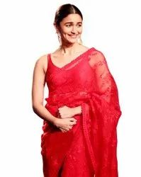 Red Bollywood Net Saree, With Blouse Piece, 5.5 m (Separate Blouse Piece)