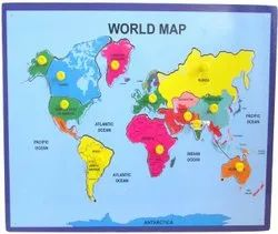 Wooden World Map Puzzle, Size: 6x5inch