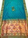 6.3 M (with Blouse Piece) Party Wear Sky Blue Printed Slik Paithani Saree