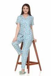 Turquoise Women Summer 3 Piece Night Suit Set, Size: S- 2XL