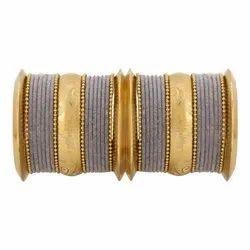 Round Wedding Indian Fashion Oxidised Velvet Bangle Jewellery Set