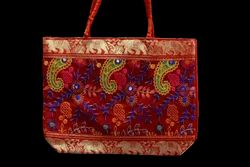 Assorted Colours Fabric Ladies Embroidered Hand bags