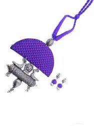 Purple and Blue Fabric Jewellery Set