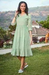 Janasya Women's Light Green Cotton Western Dress(j0086)