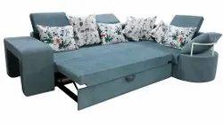 Velvet Sky Blue Full Cushion Sofa Cum Bed, For Home, Size: 4x6x3 Feet