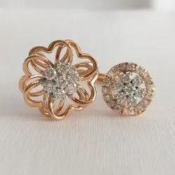 Female Round Double Flower Diamond Ring