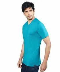 Mens Plain Blue Cotton T Shirt