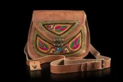 Brown Women Leather Sling Bag, Size: 7 X 9 Inch