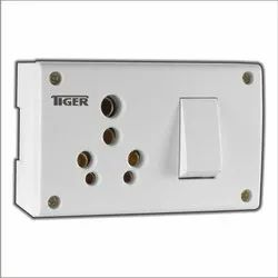 Whte And Brown POLYCARBONATE Switch Socket Combined, For Electric Fittings, Number Of Sockets: 6