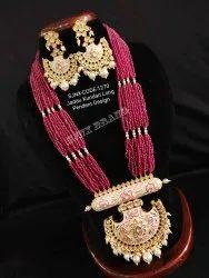 Ruby Designer Jadau Kundan Long Pendant Design Necklace Set, Occasion: Wedding, Packaging Type: Box