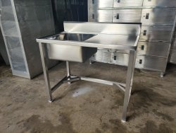 SSSVAPI Silver Stainless Steel Table With Sink, For Hotel, Size: 1200x600x850mm Ht
