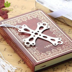 Stainless Steel Silver Cross Bookmark Tassel Page Marker