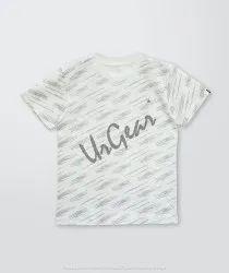 AKR Industries Lycra Cotton Printed White Line Kids T-Shirt, Size: 7-9 Years