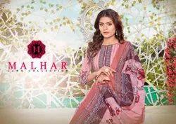Random Printed Pakistani Lawn Dress Material Malhar Premium Lawn Collection, Size: Free