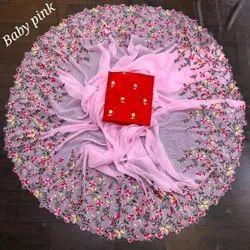 Zari Multicolor Pure georgette saree, 6 m
