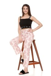 Printed off white Women rayon trouser