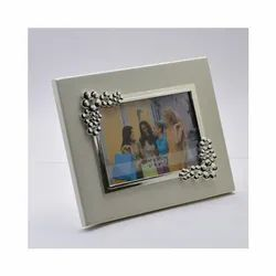 Bubbles Silver Photo Frame on Wooden Base